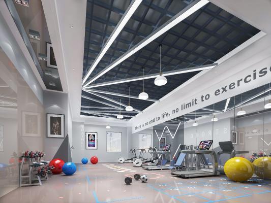 现代健身房 跑步机