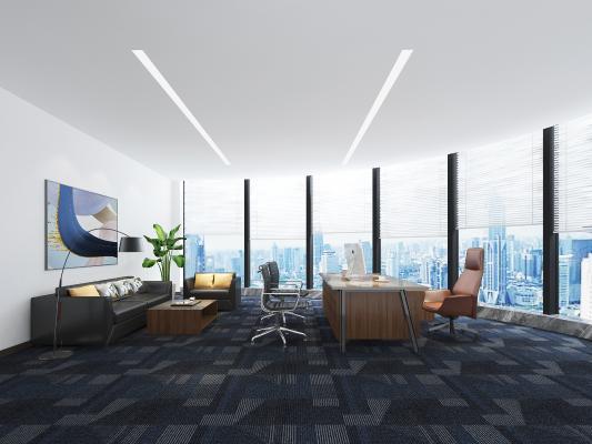 现代经理办公室 挂画 沙发