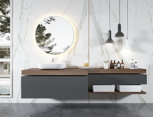 现代浴室柜 现代卫生间 洗手台