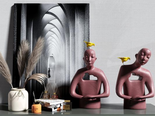 现代轻奢艺术人物雕塑 摆件组合