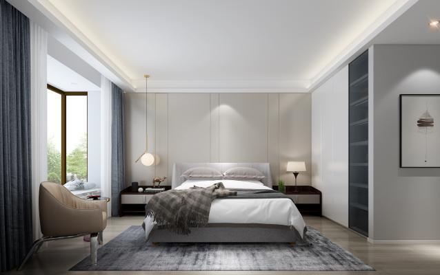 后现代卧室 休闲椅 双人床