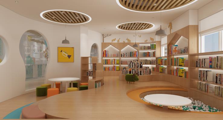 现代幼儿园 教室 吊灯 书柜