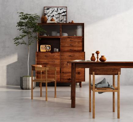 现代餐边柜餐桌椅
