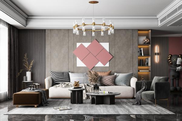现代客厅 沙发茶几组合 吊灯