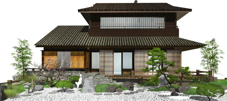 日式景观小品 庭院景观 枯山水