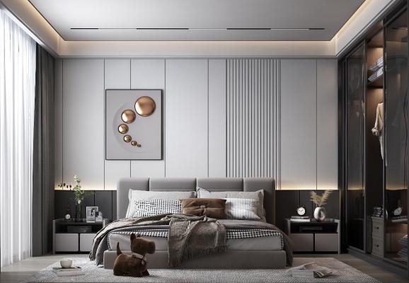現代臥室 裝飾畫 床頭柜