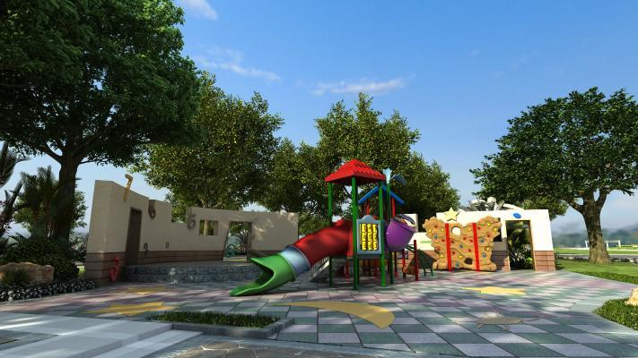 现代儿童游乐场 游乐园 玩具 攀爬