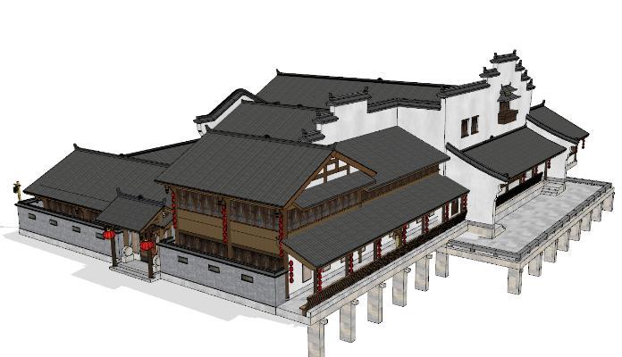中式徽派古建筑 茶楼