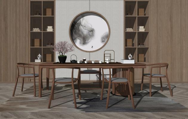 新中式休闲茶桌椅组合