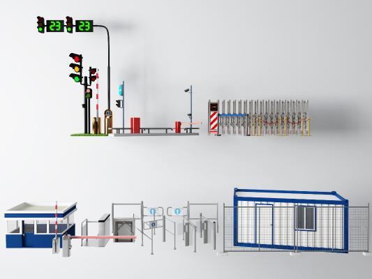 现代风格公用器材 红绿灯 闸门 保安亭