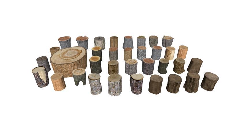 现代木头座椅 树桩凳子