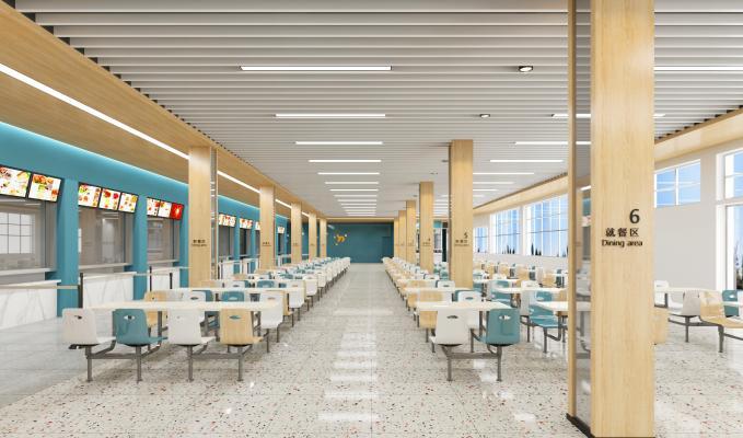 现代学校食堂 餐桌椅 餐台