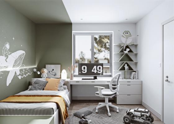 现代儿童房 儿童床 书桌