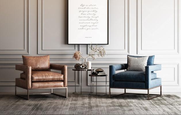 美式单人沙发
