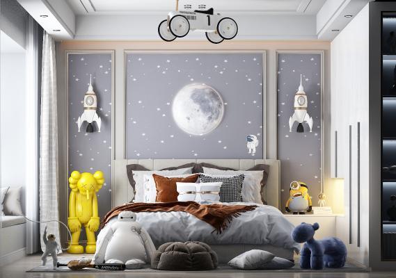 简欧儿童房 卧室 墙饰