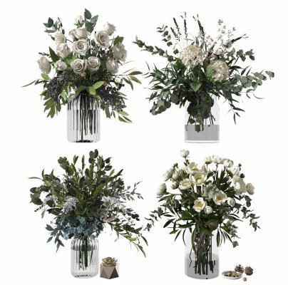 现代植物花卉 花瓶
