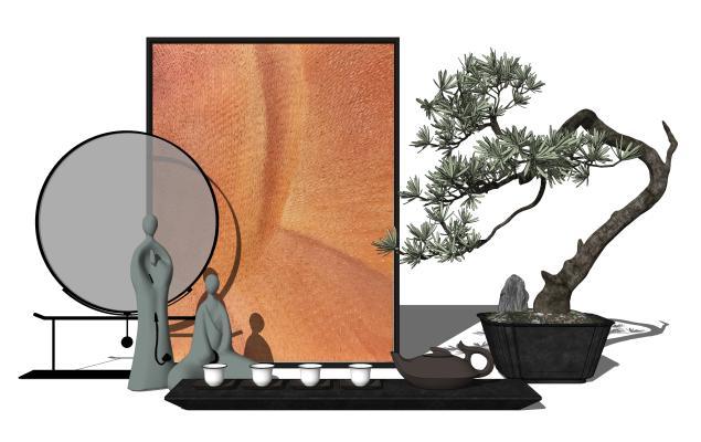 新中式摆件组合 禅意茶具 盆栽