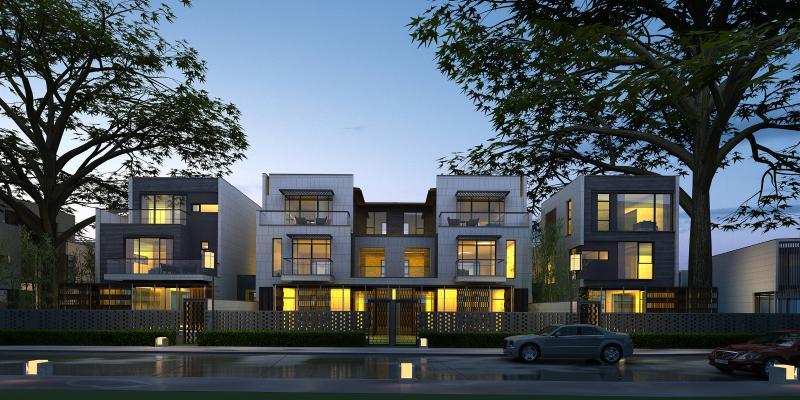新中式联排别墅外观