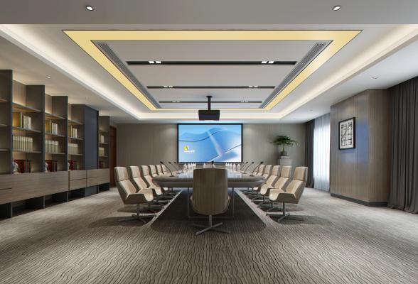 现代会议室 会议桌 办公室