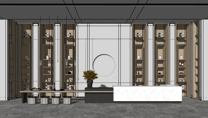 现代售楼处 服务台 水吧台