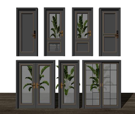 现代门组合 单开门 双开门