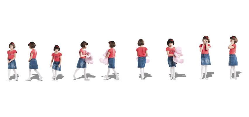 现代穿牛仔裙的小女孩站姿