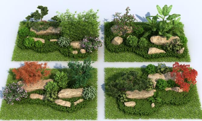 现代景观小品 园林景观 松树 山石
