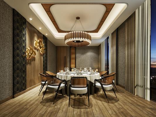 日式餐饮空间 包厢 藤编桌椅 吊灯