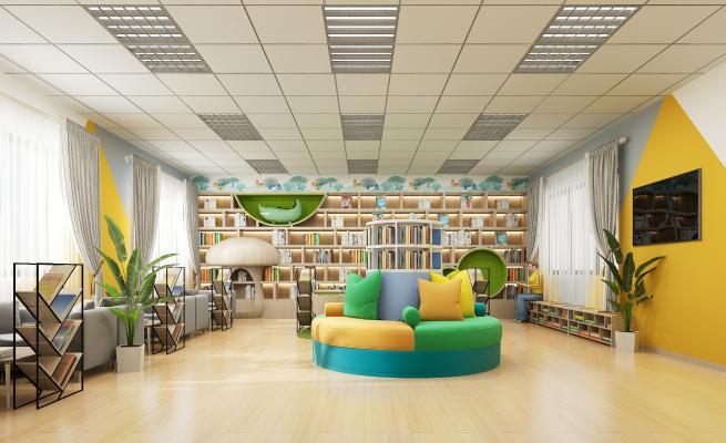 现代儿童阅读室 书柜 沙发