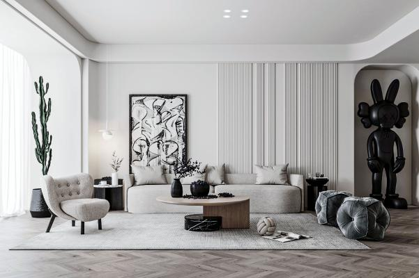 侘寂客厅 沙发茶几组合 休闲椅