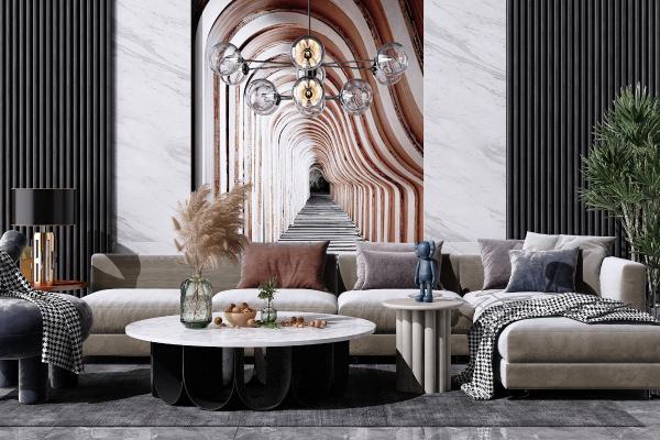 现代轻奢沙转角发茶几组合 休闲单人椅子 艺术吊灯