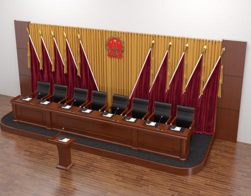 新中式会议室主席台 主席桌 主席椅