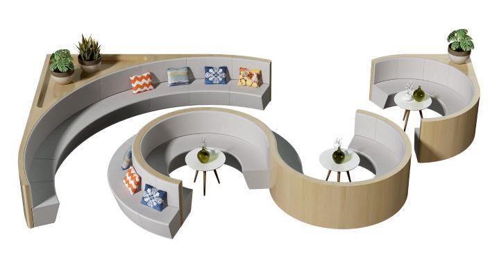 現代弧形卡座 休閑區座椅 異形卡座沙發