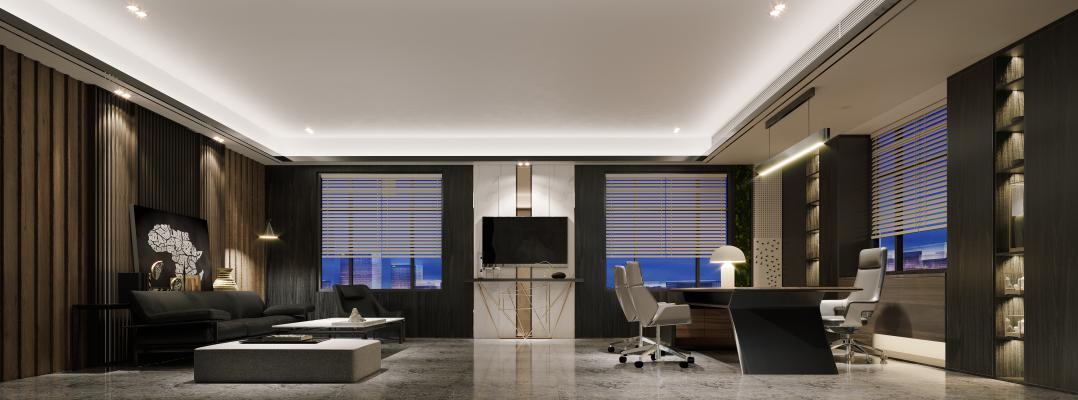 现代经理办公室 背景墙 办公桌椅
