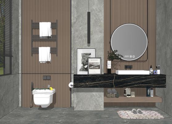 现代风格卫浴小件组合 卫生间 洗手盆 淋浴 梳妆镜