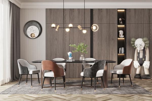 现代餐厅 桌椅组合