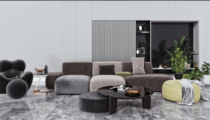 现代沙发 茶几 懒人沙发