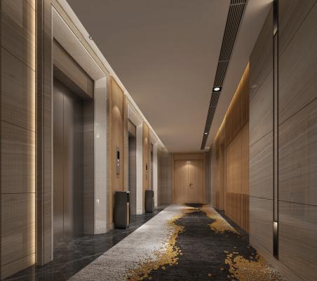 新中式酒店过道 电梯厅