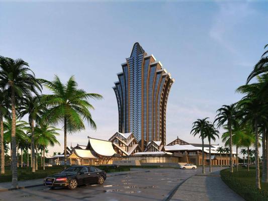 东南亚风格高层酒店 建筑外观
