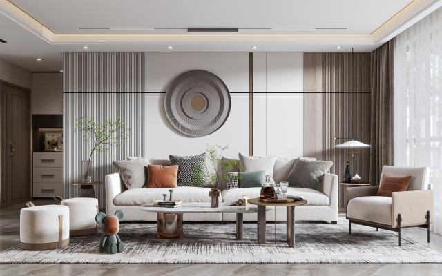 现代客厅 沙发 背景墙