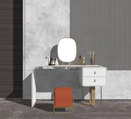 现代梳妆台 布艺梳妆凳