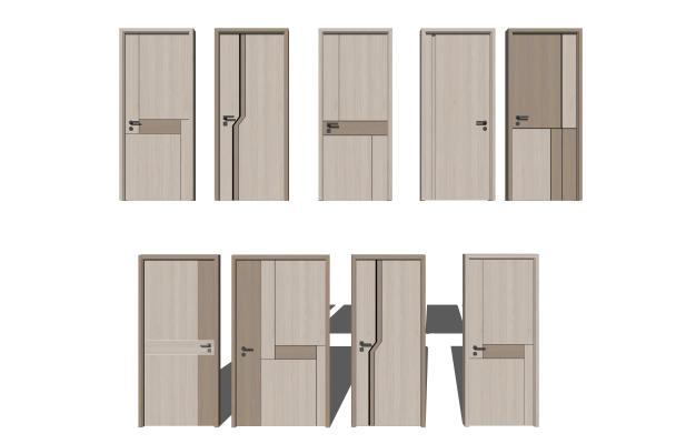 现代单开门组合 木门