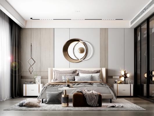 现代卧室 墙饰