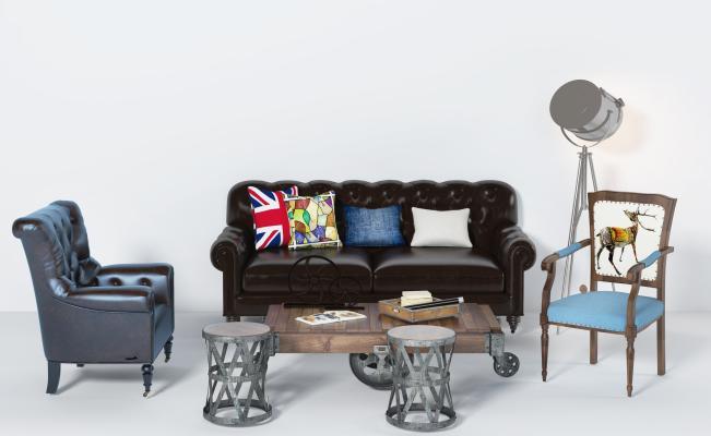 美式沙發茶幾組合