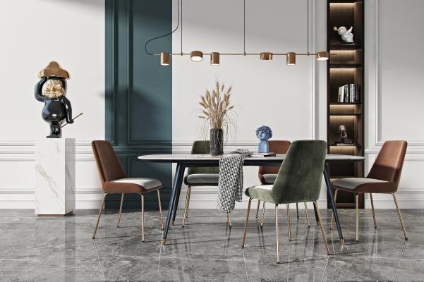现代餐桌椅组合 吊灯 饰品摆件