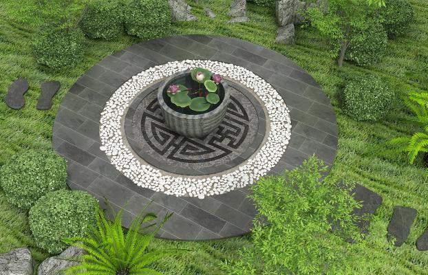 新中式庭院园林小品