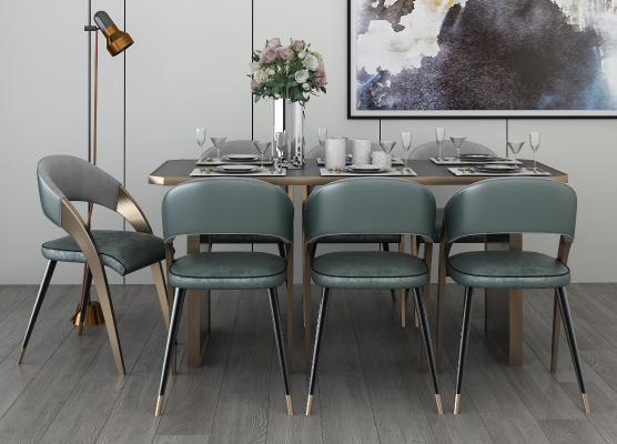 现代风格餐厅 餐桌椅组合