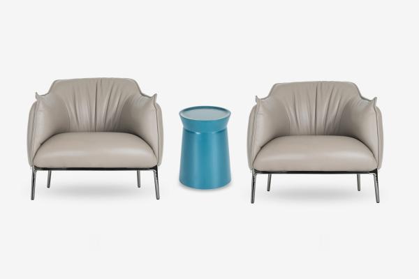 现代皮质休闲椅组合