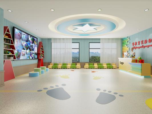 现代幼儿园 接待台 走廊过道