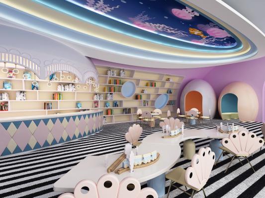 现代儿童幼儿园 阅览室 图书馆